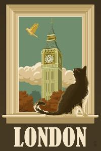 London, England - Big Ben and Cat Window by Lantern Press