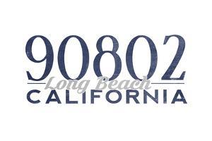 Long Beach, California - 90802 Zip Code (Blue) by Lantern Press