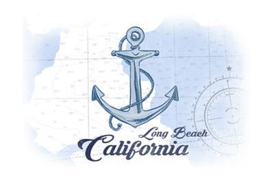 Long Beach, California - Anchor - Blue - Coastal Icon