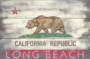 Long Beach, California - Barnwood State Flag by Lantern Press