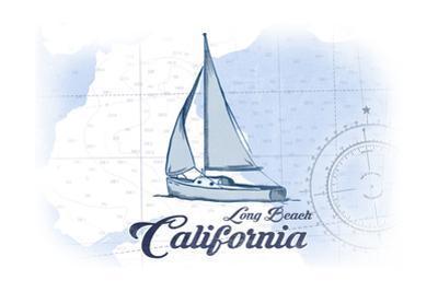 Long Beach, California - Sailboat - Blue - Coastal Icon