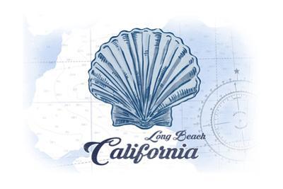 Long Beach, California - Scallop Shell - Blue - Coastal Icon