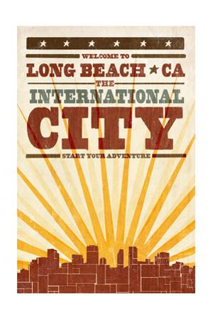 Long Beach, California - Skyline and Sunburst Screenprint Style