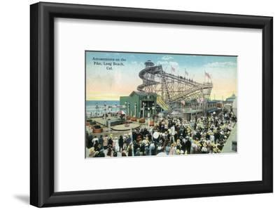 Long Beach, California - View of Amusement Rides Along the Pike