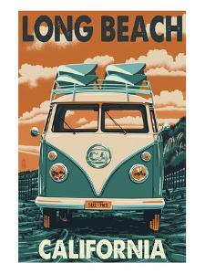 Long Beach, California - VW Van by Lantern Press