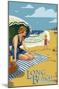 Long Beach, California - Woman on the Beach by Lantern Press