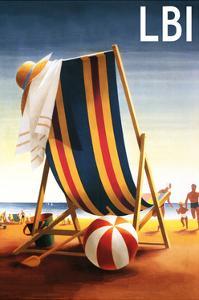 Long Beach Island - Beach Chair and Ball by Lantern Press