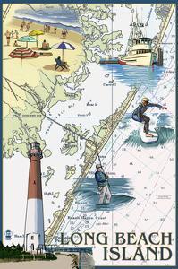 Long Beach Island - Nautical Chart by Lantern Press