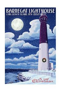 Long Beach Island, New Jersey - Barnegat Lighthouse Christmas Scene by Lantern Press