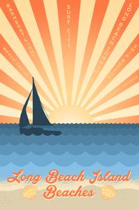 Long Beach Island, New Jersey - Beach Scene with Rays and Sailboat by Lantern Press
