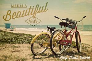 Long Beach Island, New Jersey - Bicycles and Beach Scene by Lantern Press