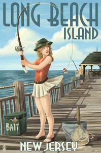 Long Beach Island, New Jersey - Fishing Pinup Girl by Lantern Press