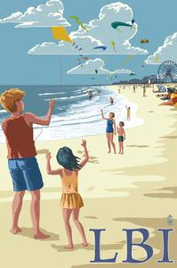 Long Beach Island, New Jersey - Kite Flyers by Lantern Press