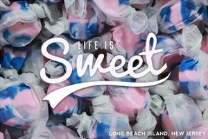 Long Beach Island, New Jersey - Life is Sweet - Taffy Collage Sentiment by Lantern Press