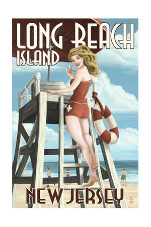 Long Beach Island, New Jersey - Lifeguard Pinup Girl by Lantern Press