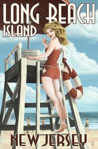 Long Beach Island, New Jersey - Lifeguard Pinup Girl by Lantern Press