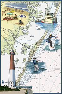 Long Beach Island, New Jersey - Nautical Chart by Lantern Press