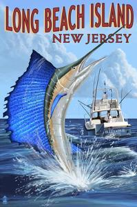 Long Beach Island, New Jersey - Sailfish Deep Sea Fishing by Lantern Press