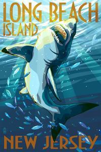 Long Beach Island, New Jersey - Stylized Shark by Lantern Press