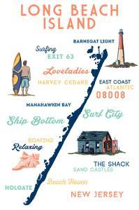 Long Beach Island, New Jersey - Typography and Icons by Lantern Press