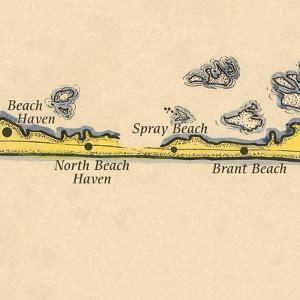 Long Beach Island, New Jersey - Vintage Map (square) 2 of 4 by Lantern Press