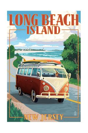 Long Beach Island, New Jersey - VW Van Coastal Drive by Lantern Press