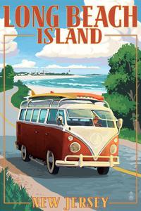 Long Beach Island, New Jersey - VW Van Coastal Drive by Lantern Press