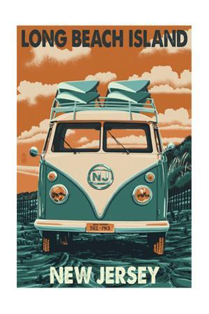 Long Beach Island, New Jersey - VW Van by Lantern Press
