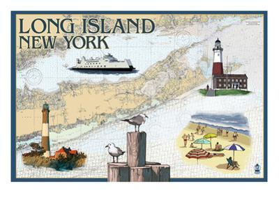 Long Island, New York - Nautical Chart by Lantern Press