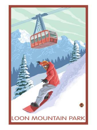 Loon Mountain Park - Snowboarder and Tram