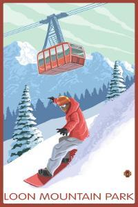 Loon Mountain Park - Snowboarder and Tram by Lantern Press