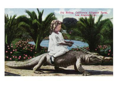 Los Angeles, California - Girl Riding Alligator at the Farm