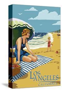 Los Angeles, California - Woman on the Beach by Lantern Press
