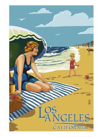 Los Angeles, California - Woman on the Beach by Lantern Press
