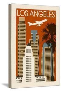 Los Angeles, California - Woodblock by Lantern Press
