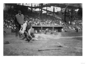 Lou Gehrig Sliding into Home Plate Baseball Photograph - New York, NY by Lantern Press