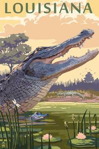 Louisiana - Alligator and Baby by Lantern Press