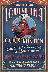 Louisiana - Cajun Kitchen Crawfish Vintage Sign by Lantern Press