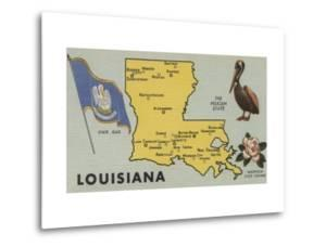 Louisiana - Detailed Map of State by Lantern Press