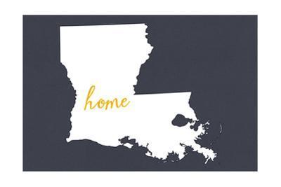Louisiana - Home State - White on Gray by Lantern Press