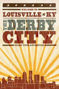 Louisville, Kentucky - Skyline and Sunburst Screenprint Style by Lantern Press