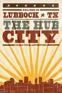 Lubbock, Texas - Skyline and Sunburst Screenprint Style by Lantern Press