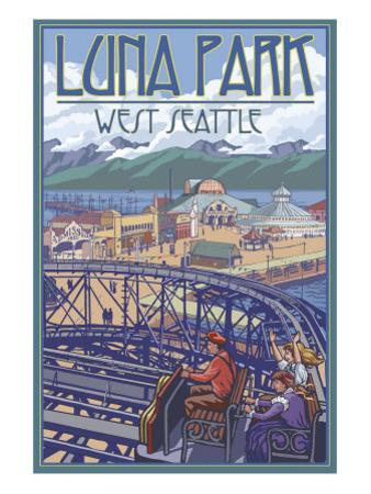 Luna Park Scene, Seattle, Washington by Lantern Press