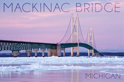 Mackinac Bridge, Michigan - Winter Scene by Lantern Press