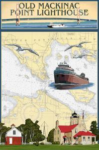 Mackinac, Michigan - Old Mackinac Point Lighthouse - Nautical Chart by Lantern Press