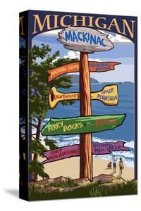 Mackinac, Michigan - Sign Destinations by Lantern Press