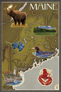 Maine Map and Icons by Lantern Press
