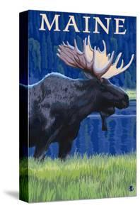 Maine - Moose in the Moonlight by Lantern Press