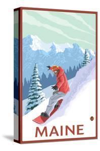 Maine - Snowboarder Scene by Lantern Press
