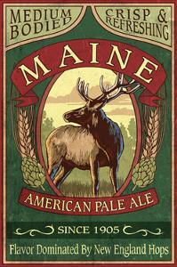 Maine - White Tailed Deer Ale Vintage Sign by Lantern Press